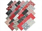 68 5 inch Quilting Fabric Squares Red Black and Whites Free shipping