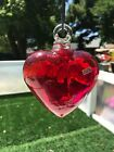 Mexico Tesoros 5 Red Glass Heart Hand blown Hanging Ornament Indoor Outdoor