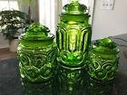 Vintage LE Smith Green Glass Canister Set 3 Retro Kitchen Moon Stars WOW