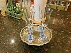 Champagne Flutes Tulip ShapedSet of 4 with Translucent Blue Stems and Bases