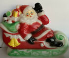 Vintage 1970 Empire Plastic Corp Light Up Blow Mold Santa Claus In Sleigh