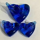 Bluebird of Happiness on Hearts Signed 1987 With Labels 3 Pieces Candle Holders
