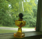 1876 DATED HONEY AMBER GLASS MINIATURE HOBNAIL OIL LAMP WITH OIL GUARD BASE