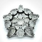 Snowflake Brooch High Quality Molded Glass Rhinestones Layered Prong Set Open B1