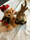 2003 Beanie Babies Holiday Teddy With Rudy the Reindeer  Used With Tags Sold Set
