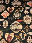 HALLOWEEN Gothic Apothecary Labels w Spooky Bats Skulls on Black Fabric BTHY