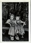 Vintage Photograph 2 little girls at Christmas bunny slippers