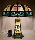 RARE  LARGE Antique Vintage Blue and Caramel Slag Glass Lamp with Light Up Base