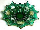 Italian Made Blown Glass 12 point Emerald Green Candy Nut Dish Hand Painted