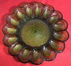 Vintage Indiana Glass Dark Olive Green Deviled Egg Plate Beaded Hobnail Glass
