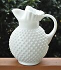Vintage FENTON Milk Glass Hobnail 70 Ounce Ice Lip Pitcher 8 3 4 High