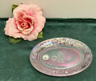 RARE FENTON ART GLASS IRIDESCENT PINK ROSES OVAL TRINKET SOAP DISH HOLDER