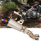 Motorcycle Exhaust Pipe Mid Link Slip On Muffler For Kawasaki Z900 Stainles