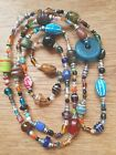 Very long chunky Hand made bead necklace end of day glass pottery