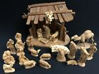 24Pc 3 Karl kuolt Anri Natural Wood Carved Nativity Set +Stable Perfect