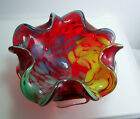 Murano Italy Red Yellow Blue Green Hand Blown Glass Bowl Ashtray 1950s 1960s