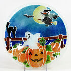 Peggy Karr PUMPKIN PATCH 85 Round Bowl Fused Glass Halloween Ghost Witch Mint