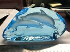 2 Blue Crystal Glass Dolphins Figures Heavy and beautiful 1 from Hawaii