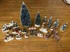 Lemax 25 Lot Figurines, Trees, and Accessories Christmas Village