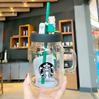 2020 Limited Edition Starbucks 600ml Green Apron Straw Cup Bear Glass Cup New