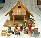 Vintage German Nativity Mary Joseph Jesus 3 Wise Men Manger Music Box Christmas