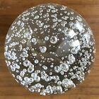 Vintage ART GLASS Large Clr CRYSTAL BALL PAPERWEIGHT Random INTERNAL Air BUBBLES