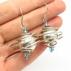 925 Sterling Aquamarine Tone Glass Planet Celestial Bodies Dangling Earrings