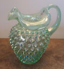 Fenton Hobnail Art Glass Pitcher Willow Green Opalescent Ruffle Edge 3366 GY