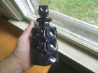 1890s DEEP AMETHYST PURPLE PATTERN GLASS COLOGNE BOTTLE WITH MATCHING STOPPER