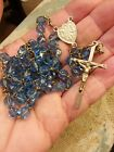 ANTIQUE FRENCH STERLING 800 SILVER BLUE CRYSTAL GLASS BEAD ROSARY