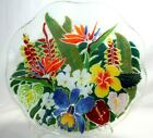 Peggy Karr Fused Glass Multi Color Tropical Flowers 11 Fluted Bowl 1999