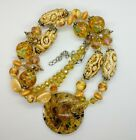 Stunning Art Glass Necklace 27 1 2  Very Boho Tribal Unique Combo of Beads