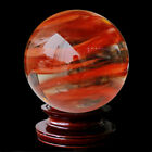 Large Natural Red Smelting Quartz Crystal Sphere Ball Healing Gemstone W Stand