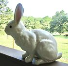 LARGE CERAMIC WHITE BUNNY RABBIT FIGURINE PINK EARS 12 1 2 x 13
