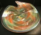 Vintage Murano Lavorazione Glassware Art Abstract Modern Multicolor Bowl Dish