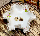Fenton Ruffled Dish Bowl Hand Painted Violets Floral Candy Trinkets Silvercrest