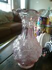 Imperial Loganberry High Iridescent Pink Lavender Carnival Glass Vase 10 EUC