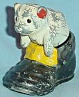 VINTAGE PAINTED METAL WHITE PUPPY DOG SITTING IN SHOE SALT PEPPER SHAKERS 25