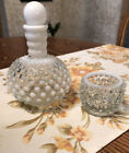 VINTAGE FENTON WHITE HOBNAIL MILK GLASS VASE BOTTLE With Stopper Gorgeous