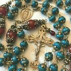 ROSARY OUR LADY GUADALUPE SOLID BRONZE HANDMADE STONE BEADS