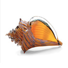Large Artful Beach Home Hand Blown Art Glass Conch Shell  By Benjamin Silver
