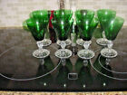 8 ANCHOR HOCKING FOREST GREEN BOOPIE BUBBLE  DOT STEM WATER GOBLETS