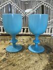 2 French Portieux Vallerysthal Blue Opaline 6 1 2 Water Wine Goblets Glass PV