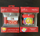 2 Hallmark Fisher Price Christmas Ornaments Chatterbox Phone/Little People Barn