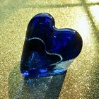 BRAND NEW Small COBALT HEART Paperweight Signed Fire  Light Recycled Glass