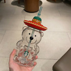 Starbucks 2020 Summer Bear Straw Glass Coffee Milk Water Cup Limited Edition