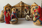 Christmas Nativity Set Cradle Hymn Baby Handmade Plush Pillow 9 pc Vintage
