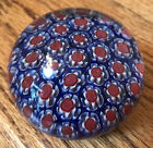 Vintage MURANO Italian Glass Round Paperweight ITALY 2x15 Red Blue EUC