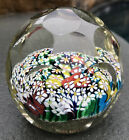Vintage MURANO Italian 3x3 Faceted Art Glass PAPERWEIGHT Gold Flecks ITALY EUC