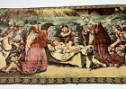 Vtg Nativity Christmas Angels Woven Tapestry Wall Hanging Carpet Made In Italy